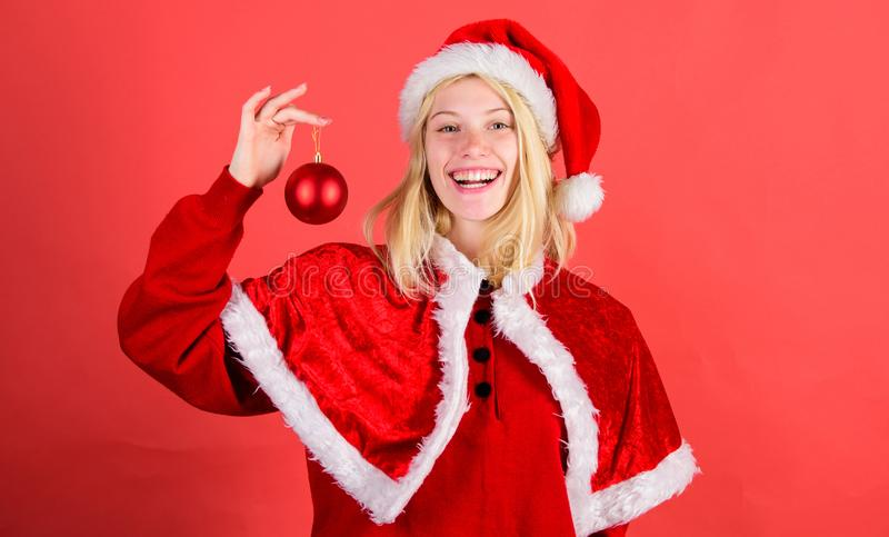 Happy holidays concept. Favorite time year christmas. Enjoy celebration with proper costume for masquerade. Merry. Christmas. Girl happy cheerful wear santa royalty free stock images