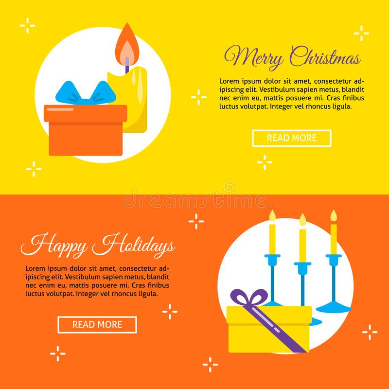 Happy holidays concept flyer templates in flat style. Happy holidays concept flyers in flat style with place for text. Bright templates with candles and gift royalty free illustration