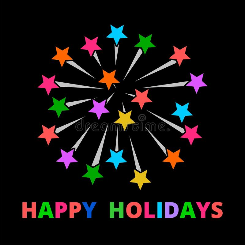 Happy holidays fireworks vector illustration