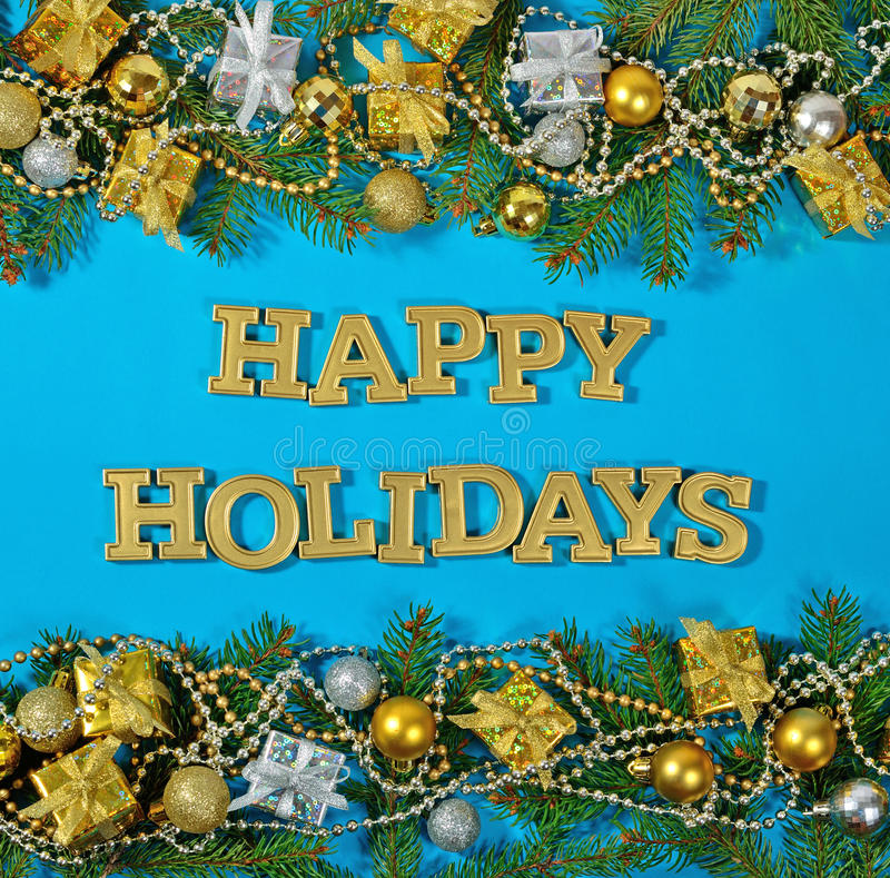 Free Happy Holidays Golden Text And Spruce Branch And Christmas Decor Royalty Free Stock Photography - 96676127
