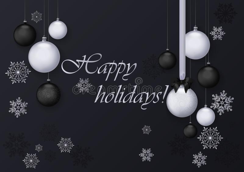 Happy holidays greeting card with silver and black balls decoration. Premium luxury chrome decoration background for vector illustration