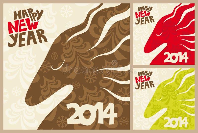 Happy holidays. Greeting cards. Stylish 2014 horse stock photos