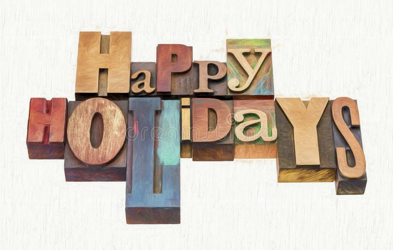 Happy Holidays greetings in wood type stock images