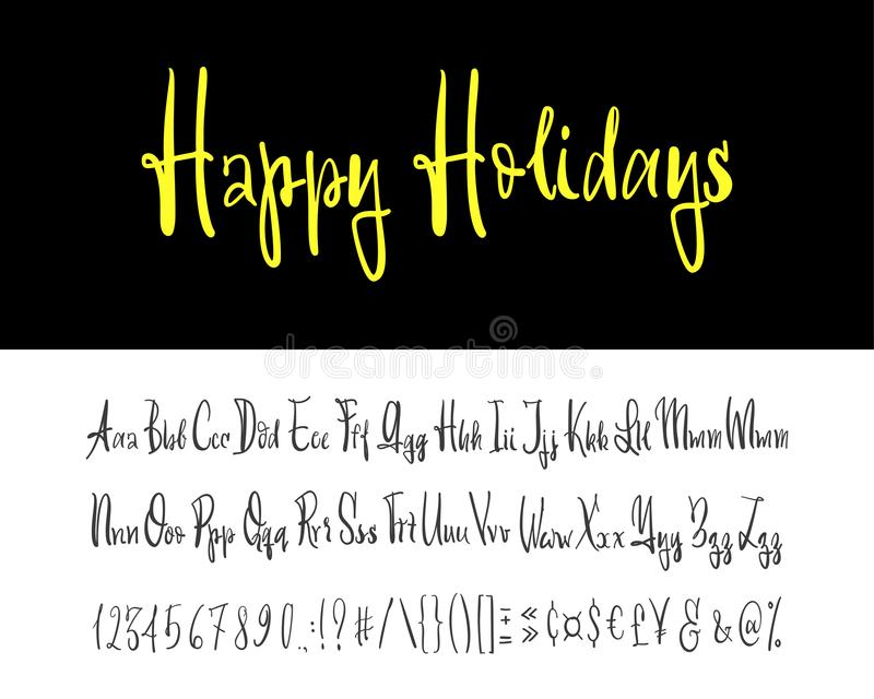 Happy holidays. Hand drawn typeface set isolated on white. Vector logo font. Typography alphabet for your designs: logo. Happy holidays.Beautiful Hand drawn vector illustration