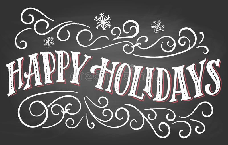 Happy holidays hand-lettering on chalkboard background stock illustration