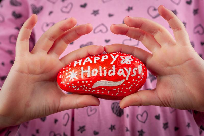 Happy Holidays hand lettering greetings closeup. stock photo