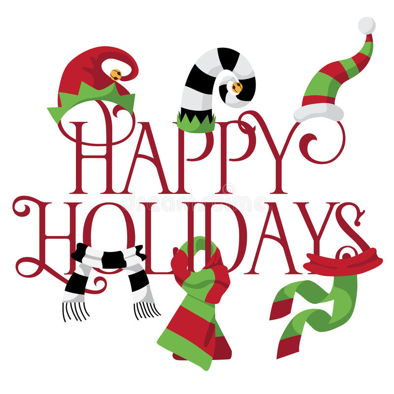Happy Holidays with hats and scarves royalty free illustration