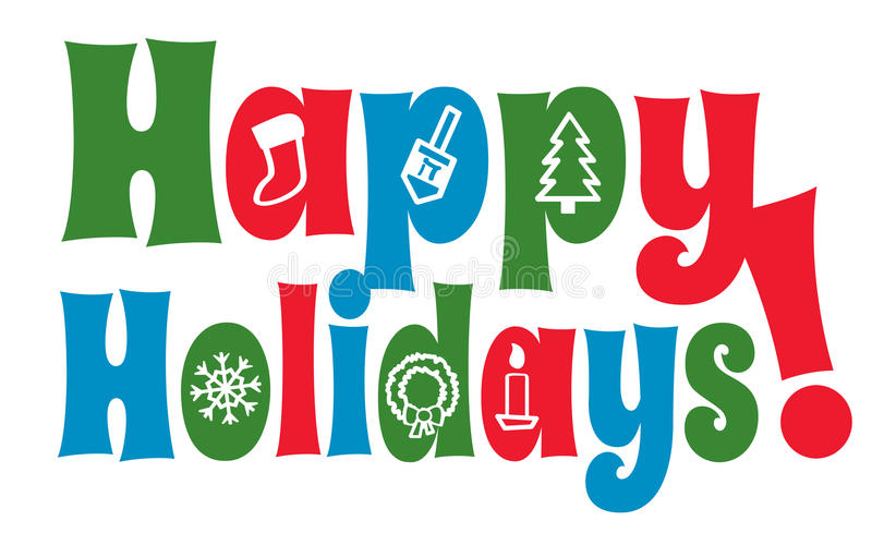 Happy Holidays with Icons stock illustration