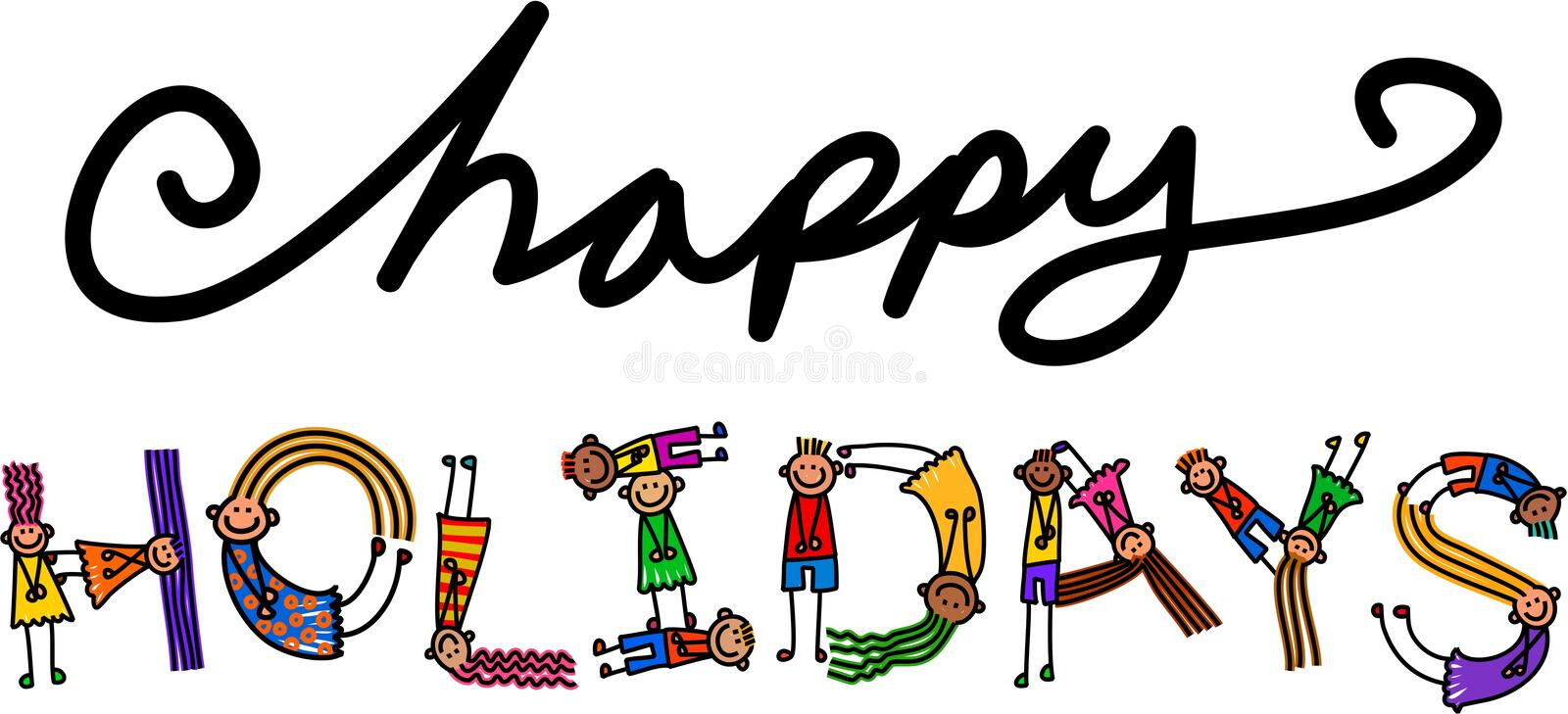 Happy Holidays Kids Title Text vector illustration