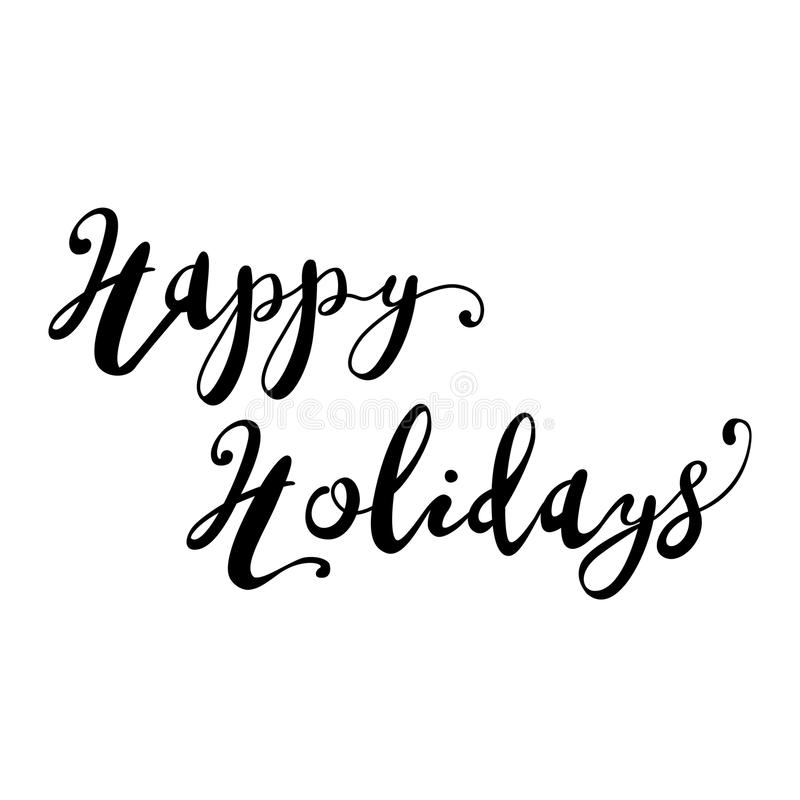 Happy Holidays Lettering in Brush pen style royalty free illustration