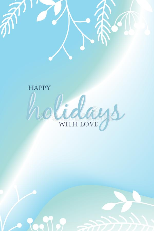 Happy holidays with love, vector text on gradient background for design greeting cards. Prints, posters stock illustration