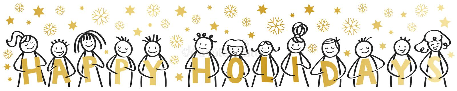 Happy Holidays, Merry Christmas, happy stick figures smiling and laughing, holding golden letters, with snowflakes, stars, banner. Happy Holidays, Merry royalty free illustration