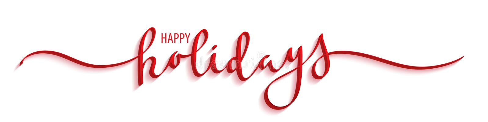 HAPPY HOLIDAYS red brush calligraphy banner stock image