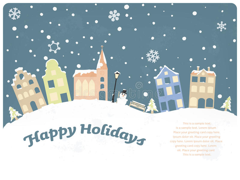 Happy Holidays Seasonal Greeting Card stock illustration