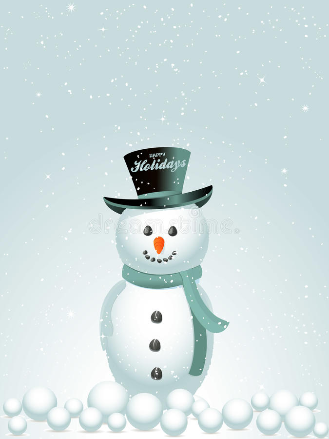 Happy holidays snow man background royalty free illustration