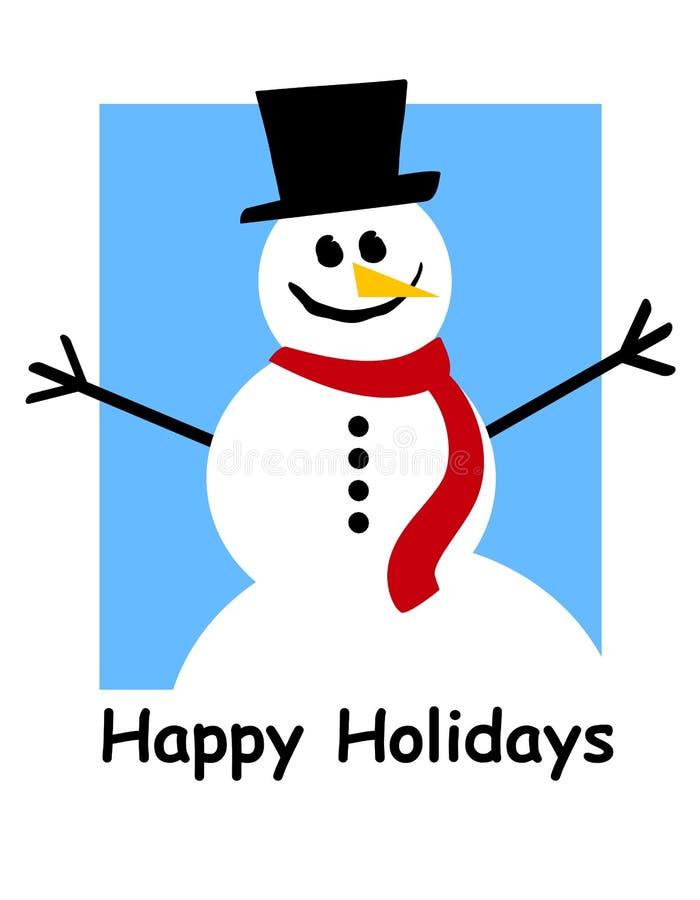 Happy Holidays Snowman. An illustration featuring a snowman with Happy Holidays beneath stock illustration