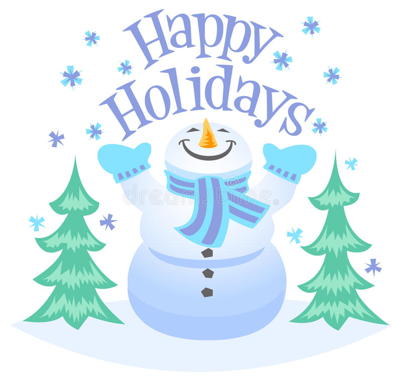 Happy Holidays Snowman stock illustration