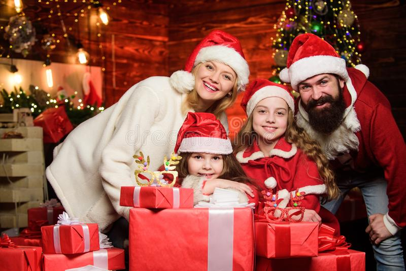 Happy holidays. Spend time with your family. Friendly family winter vacation. Family tradition. Parents and children. Excited about christmas. Bearded men and stock image