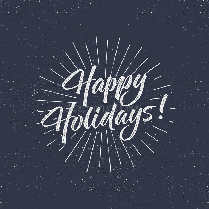 Happy Holidays text and lettering. Holiday typography Vector Illustration. design. Letters with sun bursts and halftone stock illustration