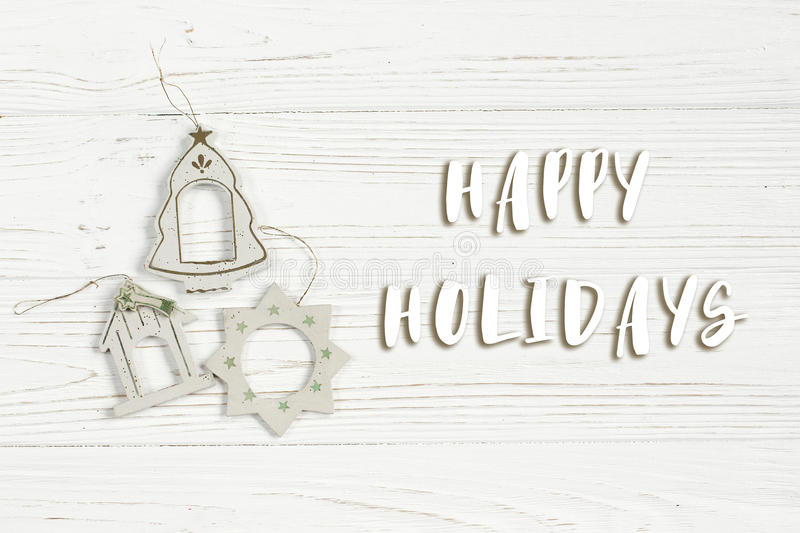 Download Happy Holidays Text Sign On Christmas Simple Vintage Toys On Sty Stock Photo - Image of arrangement, minimalism: 98805962