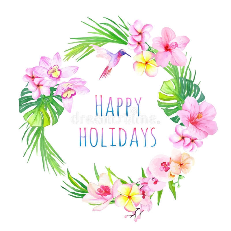 Happy holidays and tropical flowers vector design frame. All elements are isolated and editable royalty free illustration
