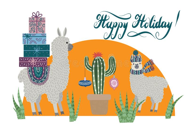 Happy holidays, two lovely lamas with gifts for Christmas, cacti with Christmas decorations and lettering. royalty free illustration