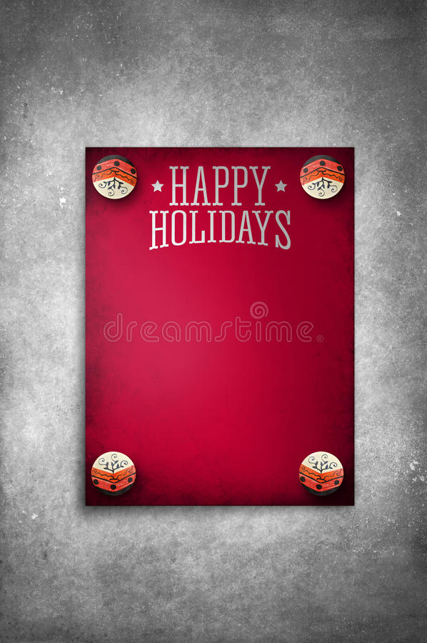 Happy Holidays Vintage Red template poster on rustic texture background stock photo