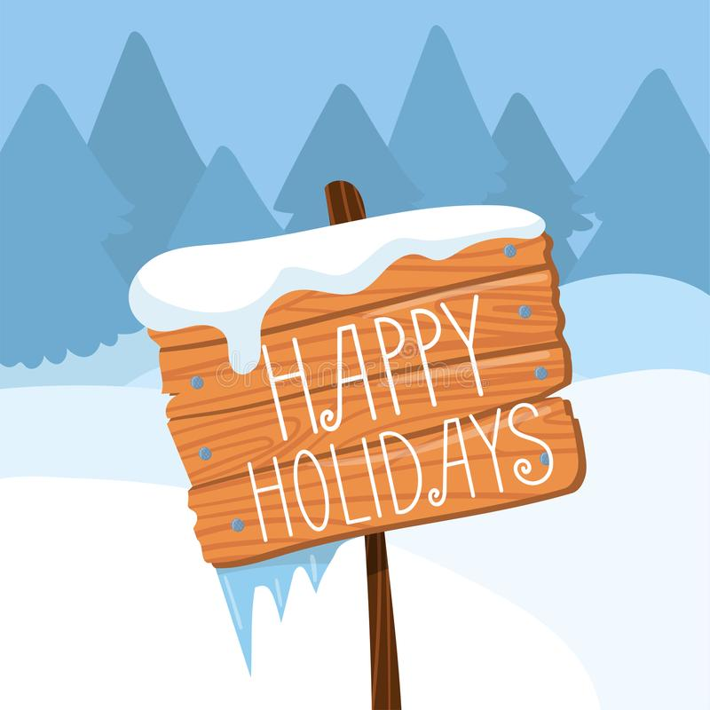 Happy Holidays wooden board sign on winter landscape background vector Illustration, cartoon style royalty free illustration
