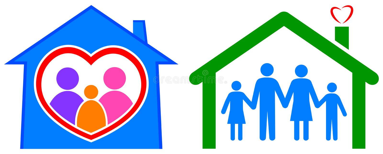Happy home and healthy family vector illustration