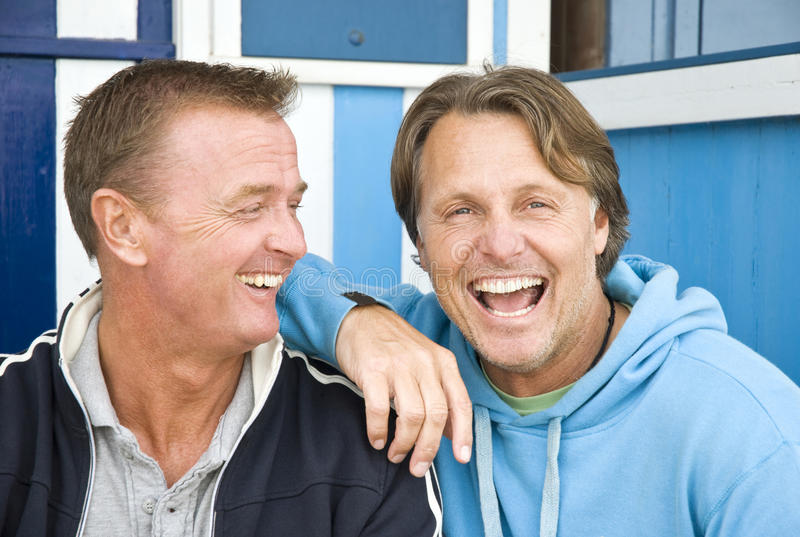 Happy homosexual couple. stock photos