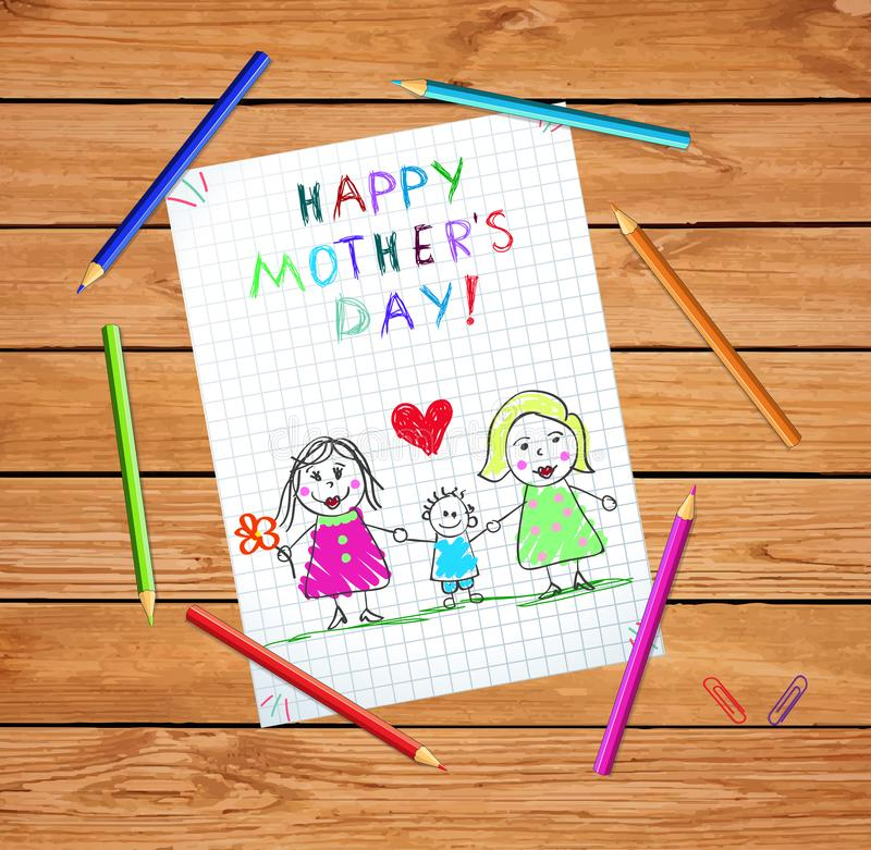 Happy Homosexual Lgbt Loving Family with Daughter. Happy Mothers Day Kids Drawing. Homosexual Lgbt Family with Son. Couple of Women with Adopted Boy on Checkered vector illustration