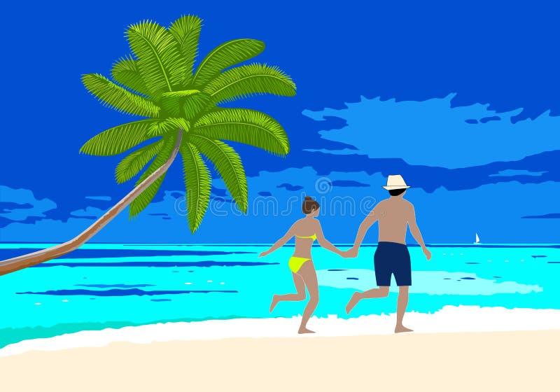 Happy honeymoon couple on the beach scene. vector illustration