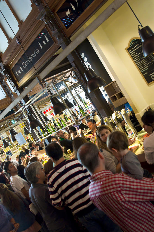 Happy hour. In San miguel market, Madrid, Spain royalty free stock image