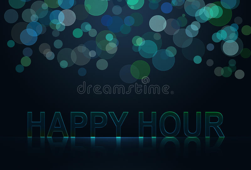 Happy hour. Wording with neon effect vector illustration