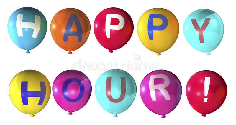 Happy hour. Word on abstract balloons royalty free stock photos