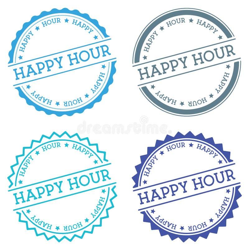 Happy hour badge isolated on white background. stock illustration