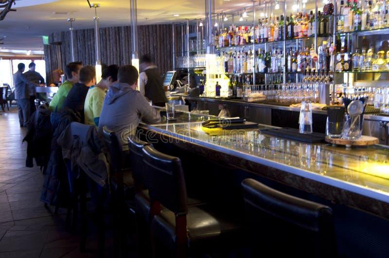 Happy hour at bar retaurant stock photography