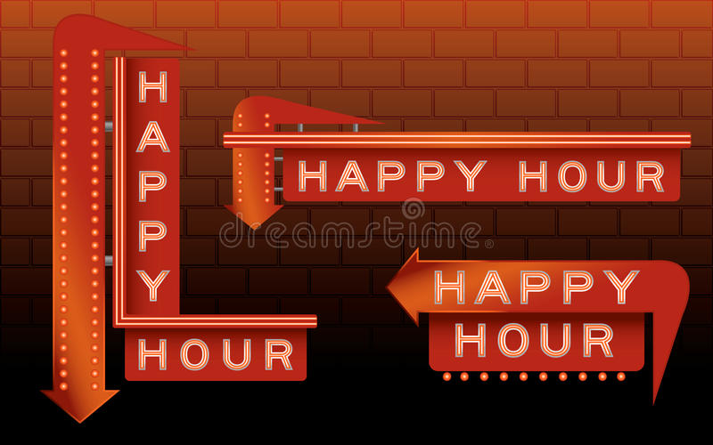 Happy Hour Bar Signs. With neon and lights vector illustration