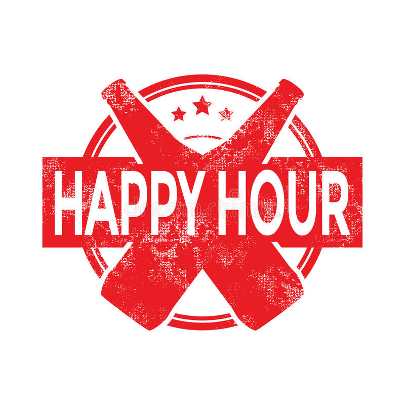 Happy hour beer menu stamp vector illustration