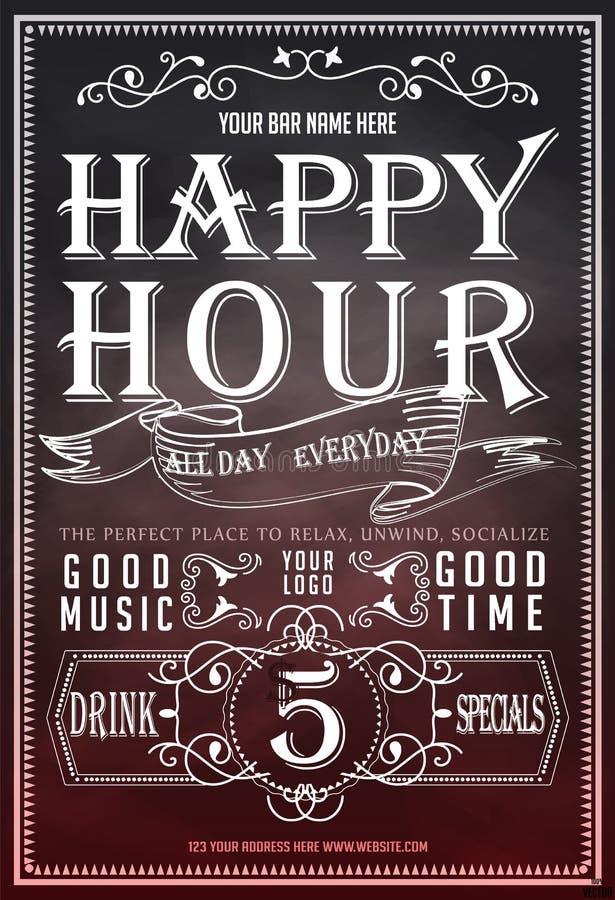 Happy hour Bello manifesto della cartolina d'auguri, testo dorato di calligrafia con la tazza di birra ed iscrizione fotografie stock