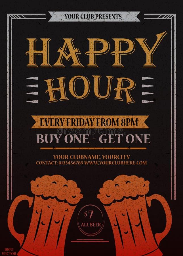 Happy hour Cartaz bonito do cartão, texto dourado da caligrafia com caneca de cerveja e rotulação ilustração stock