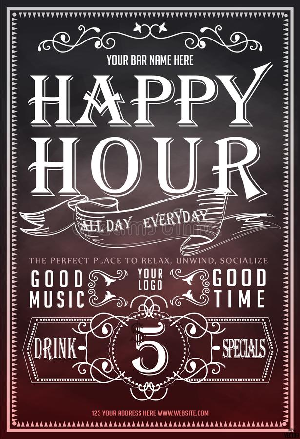 Happy hour. Beautiful greeting card poster, calligraphy golden text with beer mug and lettering. vector illustration