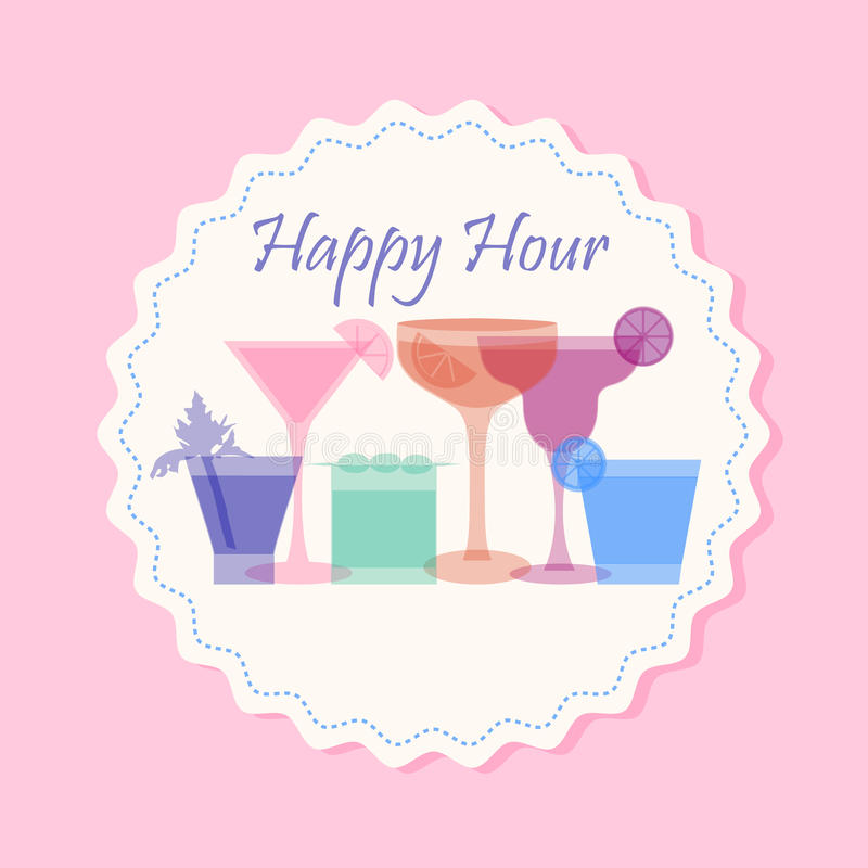 Download Happy hour cocktail banner stock vector. Image of liquor - 83705033