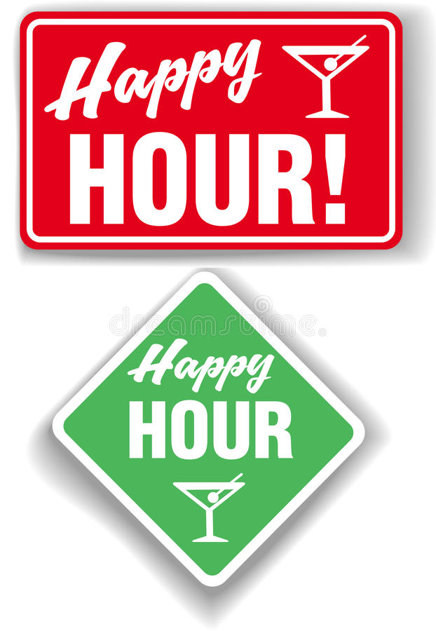 Happy Hour Cocktail bar signs vector illustration