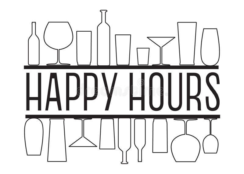 Happy hour di testo in bianco e nero di vettore con i vetri del countour illustrazione vettoriale