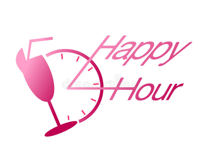 Happy hour drink at bar vector. Vector illustration of clock and drink as happy hour commercial design useful for bars and clubs