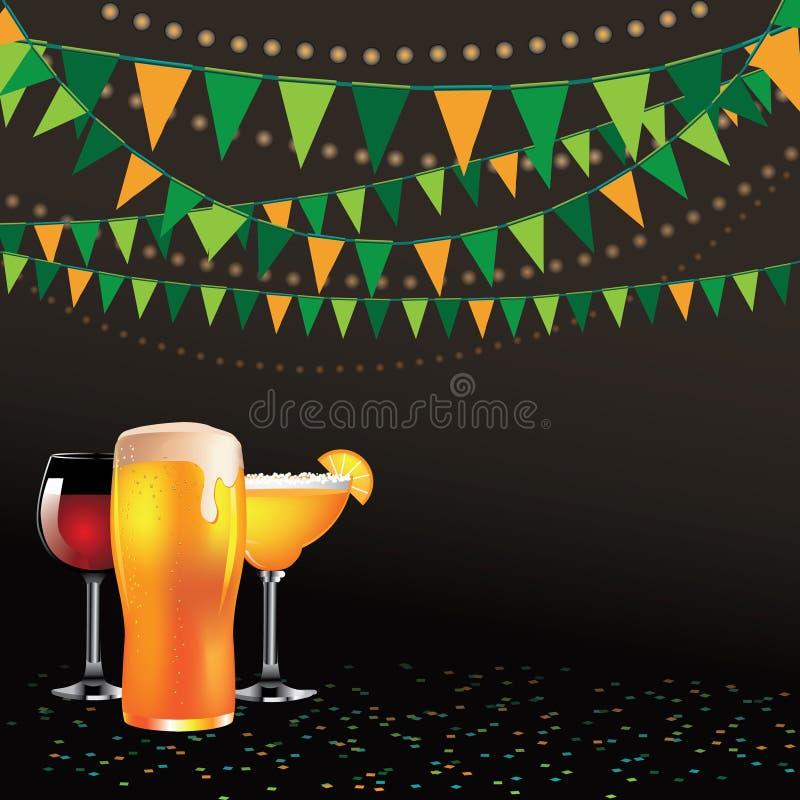 Happy hour drinks bunting background dark stock illustration