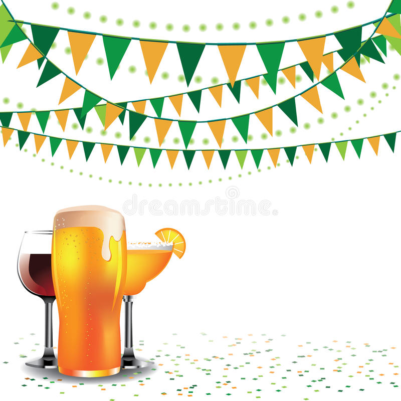Happy hour drinks bunting background isolated stock illustration