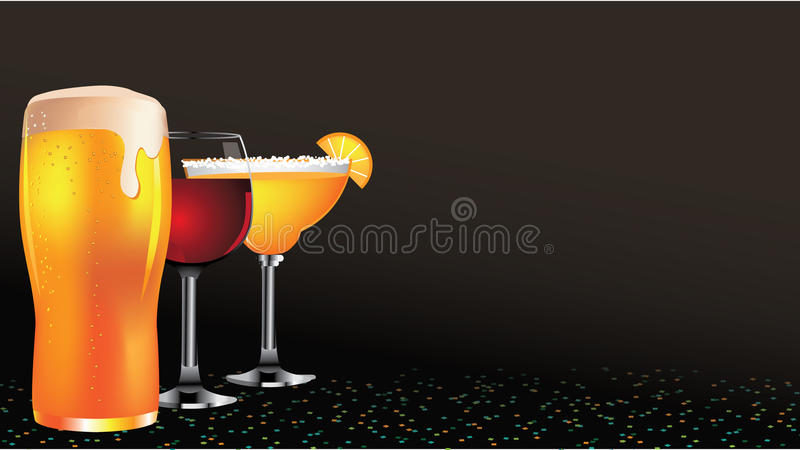 Happy hour drinks widescreen background vector illustration