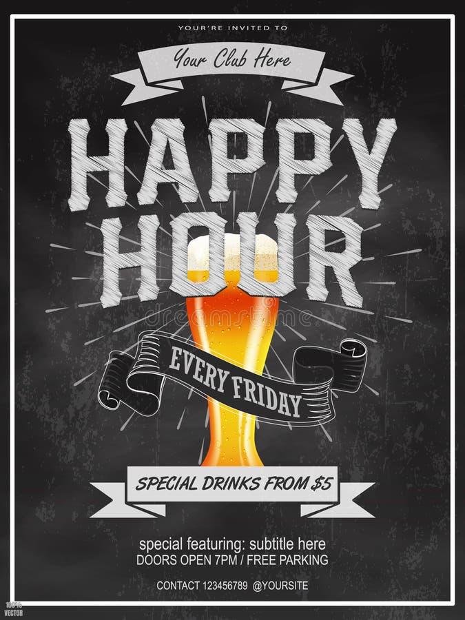 Happy hour eleganti progettazione di aletta di filatoio, dell'insegna o del modello con il vetro di birra sul fondo della lavagna illustrazione di stock